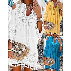 Недорогие Распродажа-Жен. Платье прямого кроя Мини-платье - Рукав 3/4 Кружева С кисточками Холодный прием Лето Глубокий V-образный вырез На каждый день Богемный Праздники Отпуск Пляж 2020