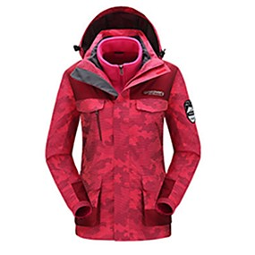 cheap Camping, Hiking & Backpacking-Women's Hiking Jacket Hiking 3-in-1 Jackets Autumn / Fall Winter Spring Outdoor Patchwork Waterproof Windproof Fleece Lining Warm Jacket Hunting Ski / Snowboard Fishing White Camouflage Pink