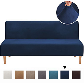 cheap Slipcovers-Sofa Cover Futon Cover Furniture Protector Velvet Slipcover Armless Sofa Cover Without Armrests Slipcover Sofa Bed  Cover Fit For Futon Lenth between 68''-85'' Width between 28''-48''