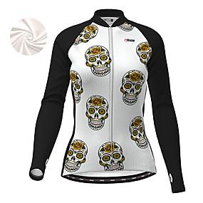 cheap Cycling & Motorcycling-21Grams Women's Long Sleeve Cycling Jersey Winter Fleece Polyester Black Sugar Skull Skull Funny Bike Jacket Jersey Top Mountain Bike MTB Road Bike Cycling Thermal Warm Fleece Lining Warm Sports