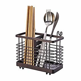 cheap Bathroom Gadgets-metal flatware caddy utensil holder silverware caddy cutlery storage organizer 2 slots with hook hanger (deep brown)