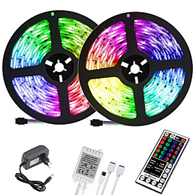 LED Strip Lights-(2x5M)10M 32.8ft LED Light Strips RGB Tiktok Lights 2835 600leds 8mm Strips Lighting Flexible Color Changing with 44 Key IR Remote Ideal for Home Kitchen Christmas TV Back Lights DC 12V