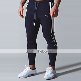 cheap Men-Men's Sweatpants Joggers Athleisure Bottoms Drawstring Cotton Winter Fitness Gym Workout Running Training Quick Dry Moisture Wicking Soft Normal Sport Black Light Grey Navy Blue / Stretchy / Skinny