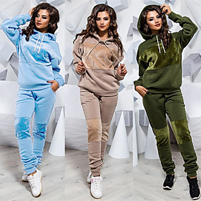 cheap Running & Jogging-Women's 2 Piece Splice Tracksuit Sweatsuit Jogging Suit Street Casual Winter Long Sleeve Velour Windproof Breathable Soft Gym Workout Running Jogging Exercise Sportswear Solid Colored Hoodie