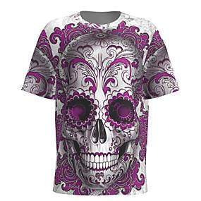 cheap Athleisure Wear-Men's T shirt 3D Print Graphic Skull Short Sleeve Halloween Tops Basic Purple
