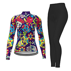 cheap Cycling & Motorcycling-21Grams Women's Long Sleeve Cycling Jersey with Tights Winter Polyester Purple Sugar Skull Novelty Skull Bike Jersey Tights Clothing Suit Quick Dry Moisture Wicking Breathable Back Pocket Sports