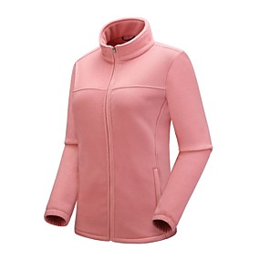 cheap Camping, Hiking & Backpacking-Women's Hiking Fleece Jacket Autumn / Fall Winter Spring Outdoor Solid Color Windproof Fleece Lining Warm Breathable Winter Fleece Jacket Full Length Visible Zipper Camping / Hiking Hunting Ski