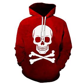 billige Hættetrøjer og sweatshirts til herrer-Herre Daglig Pullover-hættetrøje Grafisk Dødningehoveder Hætte Basale Hættetrøjer Sweatshirts Langærmet Rød