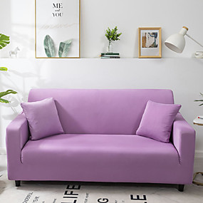 cheap Slipcovers-Solid Color Microfiber High Stretch Sofa Slipcover – Spandex Soft Fitted Sofa Couch Cover Washable Furniture Protector with Elastic Bottom for Kids,Pet
