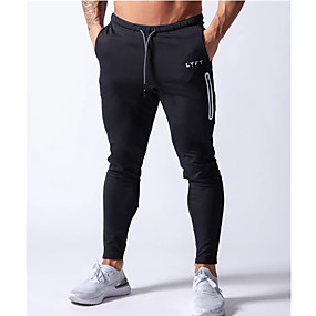 cheap Running & Jogging-Men's Sweatpants Joggers Athleisure Bottoms Drawstring Zipper Pocket Cotton Winter Fitness Gym Workout Running Training Quick Dry Moisture Wicking Soft Normal Sport Black Grey Navy Blue / Stretchy