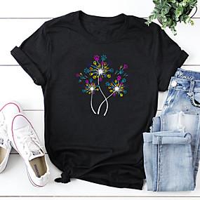 cheap Athleisure Wear-Women's T shirt Floral Flower Print Round Neck Tops 100% Cotton Basic Basic Top White