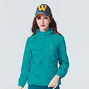 cheap Camping, Hiking & Backpacking-Women's Hiking Jacket Autumn / Fall Spring Outdoor Thermal Warm Waterproof Windproof Warm Top Camping / Hiking Hunting Climbing Violet Red Blue / Breathable