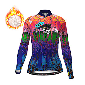 cheap Cycling & Motorcycling-21Grams Women's Long Sleeve Cycling Jersey Winter Fleece Polyester Dark Blue Sugar Skull Skull Christmas Bike Top Mountain Bike MTB Road Bike Cycling Fleece Lining Warm Quick Dry Sports Clothing