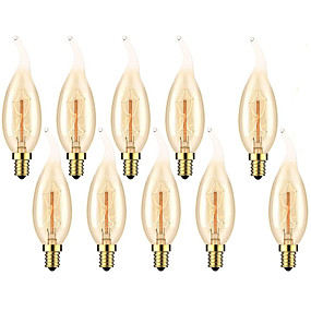 cheap Light Bulbs-10pcs 6pcs 4pcs 40 W E14 C35L Warm Yellow 2200-2700 k Retro Dimmable Decorative Incandescent Vintage Edison Light Bulb 220-240 V