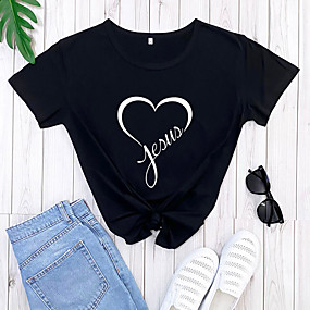 cheap Athleisure Wear-jesus letter printed t shirt women love jesus christian graphic t-shirt tees top & #40;small, navy1& #41;