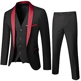abordables Blazers & Costumes Homme-Homme Col châle costumes Couleur Pleine Noir / Rouge / Vin US32 / UK32 / EU40 / US34 / UK34 / EU42 / US36 / UK36 / EU44