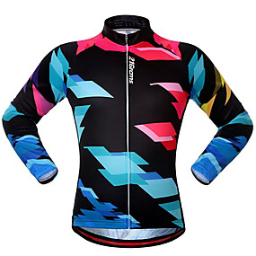 cheap Cycling & Motorcycling-21Grams Men's Long Sleeve Cycling Jersey Winter Polyester Black Bike Jersey Top Mountain Bike MTB Road Bike Cycling UV Resistant Quick Dry Breathable Sports Clothing Apparel / Stretchy / Athleisure