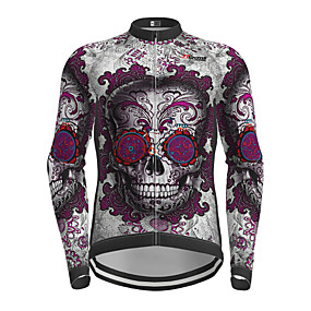 cheap Cycling & Motorcycling-21Grams Men's Long Sleeve Cycling Jersey Winter Polyester Purple Sugar Skull Skull Bike Jersey Top Mountain Bike MTB Road Bike Cycling Quick Dry Back Pocket Sports Clothing Apparel / Micro-elastic