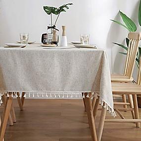 billige Duker-solid farge dusk duk bomull lin borddeksel kjøkken spisestue restaurant fest dekorasjon rektangel