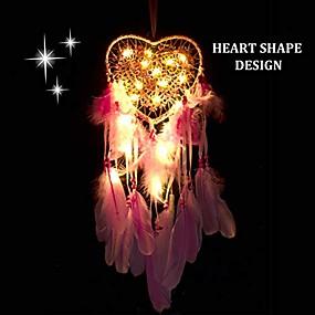 cheap Dreamcatcher-dream catcher handmade led light heart shape feather design dreamcatchers for wall hanging decor home decoration festival gift - pink