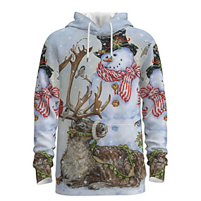 cheap Fashion Trends-Daddy and Me Basic Snowman 3D Print Animal Print Long Sleeve Regular Hoodie & Sweatshirt Beige