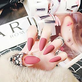 cheap Nail Dryer & Lamp-24pcs solid colors acrylic stiletto false nails full cover fake nails tips natural long claw nails & #40;matte scarlet pink& #41;