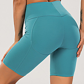 cheap Yoga & Fitness-Women's High Waist Yoga Shorts Shorts Tummy Control Butt Lift 4 Way Stretch Black Red Blue Nylon Fitness Gym Workout Running Sports Activewear High Elasticity / Quick Dry / Breathable