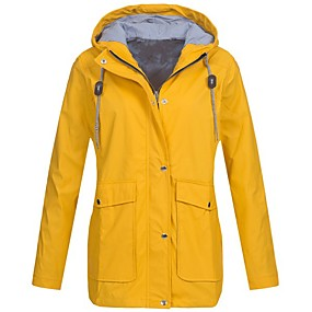 cheap Camping, Hiking & Backpacking-Women's Zip Up Waterproof Hooded Rain Jacket Raincoat Outdoor Lightweight Jacket Windproof Breathable Windbreaker Trench Coats Top Active Climbing Travel Hiking Camping
