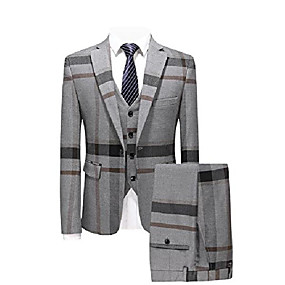 abordables Blazers & Costumes Homme-Le carreau de fenêtre slim fit 3 pièces pour homme convient à la taille 36& # 40; asiatique XL / 52& # 41; gris