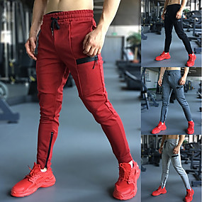 cheap Running & Jogging-Men's Joggers Jogger Pants Track Pants Street Sweatpants Athleisure Wear Bottoms Drawstring Spandex Cotton Winter Fitness Gym Workout Running Jogging 4 Way Stretch Soft Power Flex Sport Solid Colored