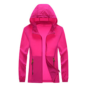 cheap Camping, Hiking & Backpacking-Women's Hiking Jacket Summer Outdoor Thermal Warm Windproof Sunscreen Ultra Light (UL) Top Camping / Hiking Fishing Running Fuchsia Pink Grey / Quick Dry / Breathable