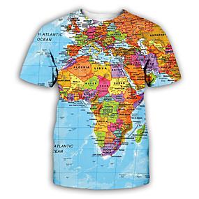 billige Overdele til herrer-Herre T-shirt Grafisk Trykt mønster Kortærmet Toppe overdrevet Rund hals Regnbue / Fest