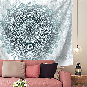 cheap Wall Tapestries-psychedelic mandala tapestry wall hanging - bohemian living room wall decor for women girls, blue and teal boho medallion tapestry for room