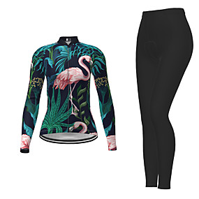 cheap Cycling & Motorcycling-21Grams Women's Long Sleeve Cycling Jersey with Tights Winter Polyester Dark Green Novelty Bike Jersey Tights Clothing Suit Moisture Wicking Quick Dry Breathable Back Pocket Sports Patterned Mountain