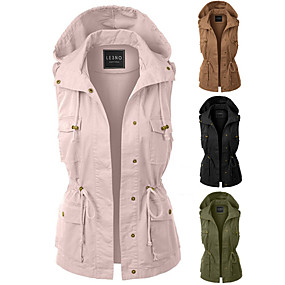 cheap Women-Women's Hiking Vest / Gilet Jacket Top Outdoor Thermal Warm Windproof Multi-Pockets Quick Dry Autumn / Fall Winter Spring Cotton Polyester Black Army Green Pink Fishing Climbing Traveling