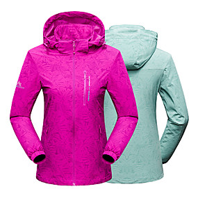 cheap Camping, Hiking & Backpacking-Women's Hiking Jacket Autumn / Fall Winter Spring Outdoor Solid Color Thermal Warm Waterproof Windproof Warm Jacket Single Slider Hunting Climbing Camping / Hiking / Caving Purple Light Green Fuchsia