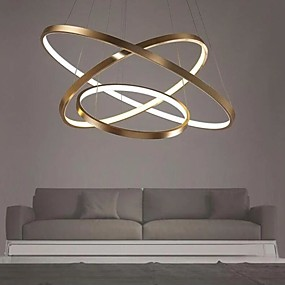 cheap Pendant Lights-LED Gold Pendant Light 80cm/60cm/40cm 3-Light Ring Circle Matte Brushed Gold Aluminum Painted Finishes Dimmable with Remote Control