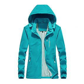 cheap Camping, Hiking & Backpacking-Women's Windbreaker Hiking Jacket Autumn / Fall Spring Summer Outdoor Thermal Warm Waterproof Windproof Anti-Mosquito Jacket Top Camping / Hiking Camping / Hiking / Caving Outdoor Violet Fuchsia Green