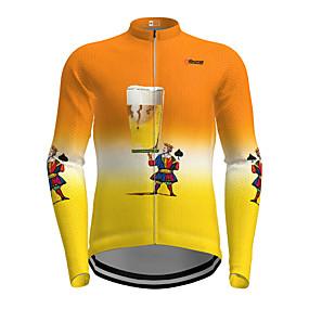cheap Cycling & Motorcycling-21Grams Men's Long Sleeve Cycling Jersey Winter Polyester Orange Cartoon Beer Bike Jersey Top Mountain Bike MTB Road Bike Cycling Quick Dry Back Pocket Sports Clothing Apparel / Micro-elastic