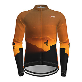 cheap Cycling & Motorcycling-21Grams Men's Long Sleeve Cycling Jersey Winter Polyester Orange Novelty Bike Jersey Top Mountain Bike MTB Road Bike Cycling Quick Dry Back Pocket Sports Clothing Apparel / Micro-elastic / Athleisure