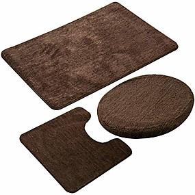 cheap Bathroom Gadgets-bathroom rug set 3 pieces non-slip soft bathroom rug rectangular floor mat, u-shaped toilet mat, elongated toilet lid cover (coffee)