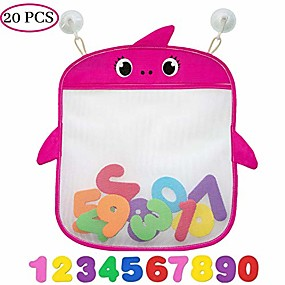 cheap Pools & Water Fun-bath toy organizer set of 2 holders+10 foam numbers+8 suction&sticker hooks |baby and toddlers bathtub mesh bag premium quality | quick dry tub holder for mold free toys-pink