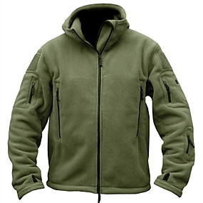 cheap Camping, Hiking & Backpacking-Men's Survival Military Tactical Jacket Hiking Fleece Jacket Winter Spring Outdoor Thermal Warm Windproof Breathable Stretchy Winter Fleece Jacket Outerwear Top Softshell Single Slider