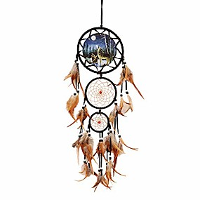 cheap Dreamcatcher-dream catcher indian style oil painting wolf hand-woven car pendant wall hanging home decorations(wolf)