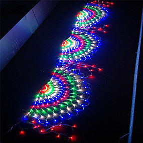cheap Plug in Electric-3.5M 3 Peacock Mesh Net Led String Lights New year's Decor Xmas Flexible Net String Colorful Lighting For Outdoor Yard Lawn Tree Decor Lamp Holiday Light AC110V 220V IP65 EU US Plug