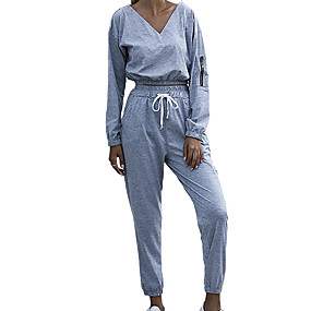 cheap Athleisure Wear-Women's 2 Piece Set Pure Color V Neck Solid Color Sport Athleisure Clothing Suit Long Sleeve Breathable Soft Oversized Comfortable Exercise & Fitness Everyday Use Daily Outdoor