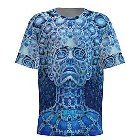 cheap Athleisure Wear-Men's T shirt 3D Print Graphic 3D Portrait Short Sleeve Daily Tops Basic Blue