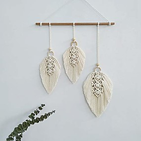 Wall Accents-macrame wall hanging feather boho chic woven leaf tassels decoration cotton ornaments - bohemian apartment decorations - living room bedroom decor (ivory-3 leaf)