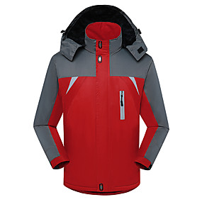 cheap Camping, Hiking & Backpacking-Men's Hiking Jacket Autumn / Fall Winter Spring Outdoor Thermal Warm Waterproof Windproof Ultraviolet Resistant Jacket Top Camping / Hiking / Caving Outdoor Black Red Blue / Breathable