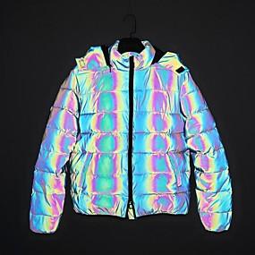 cheap Men's Downs & Parkas-Men's Puffer Jacket Parka Solid Colored POLY Black S / M / L